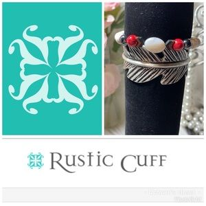 2 Rustic cuffs bracelets feather silver Lauren